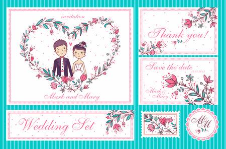 결혼식 설정합니다. 결혼식 초대 카드의 집합, 날짜 카드를 저장, 당신에게 카드를 감사합니다.