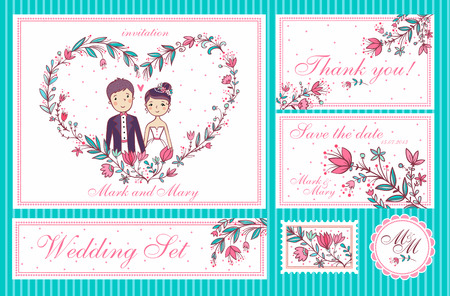Bruiloft Set. Set van huwelijksuitnodigingskaarten, bedankt kaart, spaar de datumkaarten.