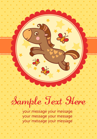 cute baby: illustration of a horse in a round frame. Perfect for invitations for birthdays and other holidays.