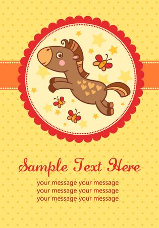 invitacion baby shower: ilustración de un caballo en un marco redondo. Perfecto para las invitaciones para los cumpleaños y otras fiestas.