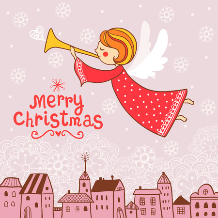 pink vintage: Christmas illustration on the theme of the new year.
