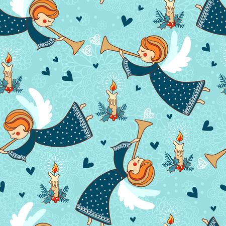 Childish seamless pattern with angel.