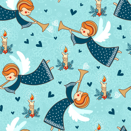 Childish seamless pattern with angel.