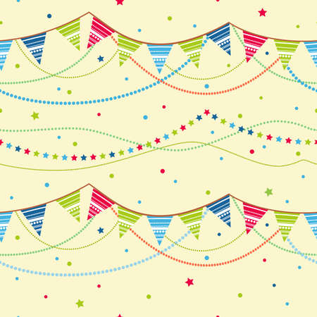 pennant: Party pennant bunting. Party seamless background Illustration
