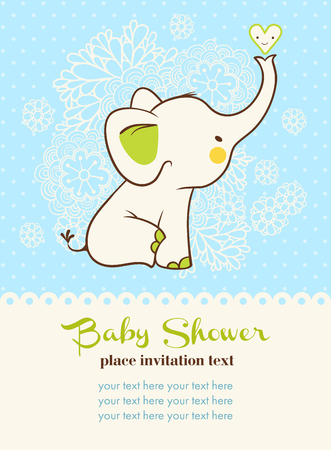 baby shower party: Children illustration with elephant and place for your text.