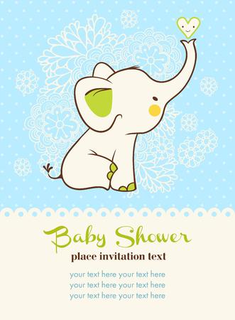 babies: Illustratie van kinderen met olifant en plaats voor uw tekst.
