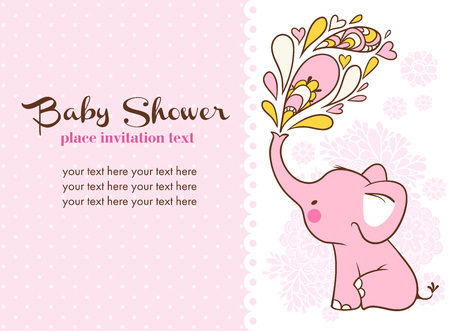 baby girl: Children illustration with elephant and place for your text.