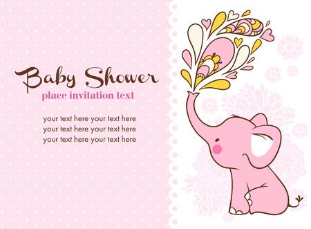 invitacion baby shower: Los niños de la ilustración con el elefante y el lugar de su texto.