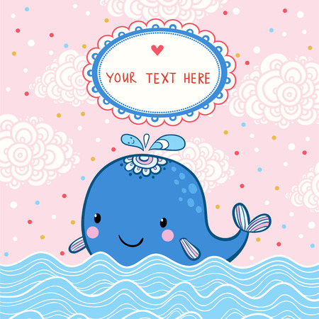 date of birth: Beautiful happy birthday greeting card with whale and sea. party invitation. Illustration