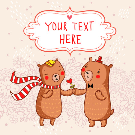 funny love: Romantic cartoon background with funny bears in love.