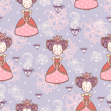 morning tea: Vintage romantic seamless pattern with princesses.
