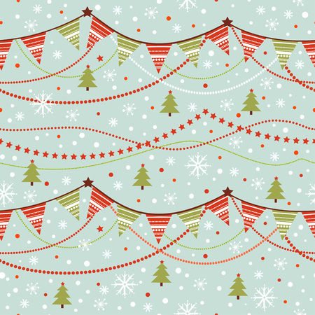 holiday garland: Party pennant bunting. Christmas seamless pattern with garland and snowflakes in cartoon style.