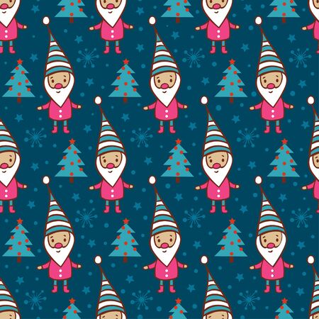dark elf: Childish vector seamless pattern. Christmas and New Year background with tree, gnome and snow. Illustration