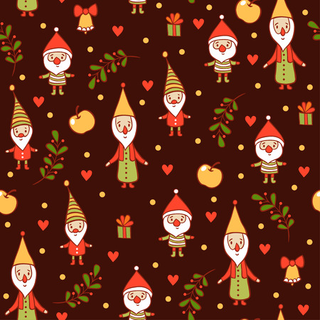 apple christmas: Seamless Christmas background. Christmas and New Years pattern. Holiday card with cute gnomes. Illustration