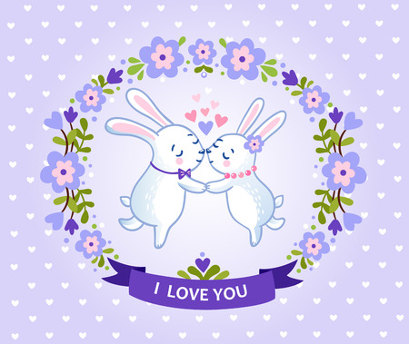 love concepts: Happy valentines day card with symbol of heart and two bunnies lovers.