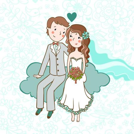 結婚式の招待状。背景に少年、雲に座っている女の子。