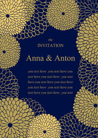 gold floral: Wedding invitation. Floral romantic vector background. Frame with flowers and text.