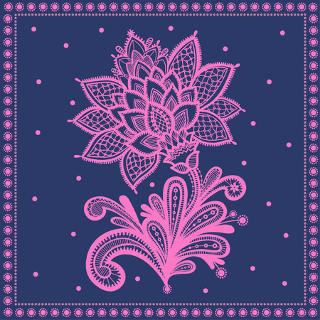 indianische muster: White seamless lace floral pattern on dark background. Illustration