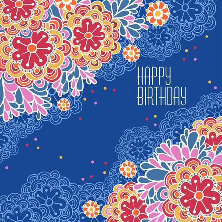 marco cumpleaños: Ilustración vectorial de fondo floral y lugar para el texto.
