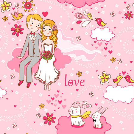 love couple cartoon: Wedding invitation. Background with a boy and a girl sitting on a cloud.