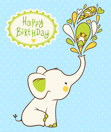 baby elephant: Children vector illustration with elephant and place for your text.