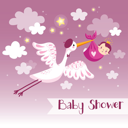 congratulations text: Baby girl shower invitation card with stork.