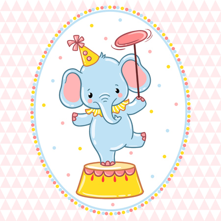 clipart podium: A circus elephant standing on a circus tub. Vector illustration.