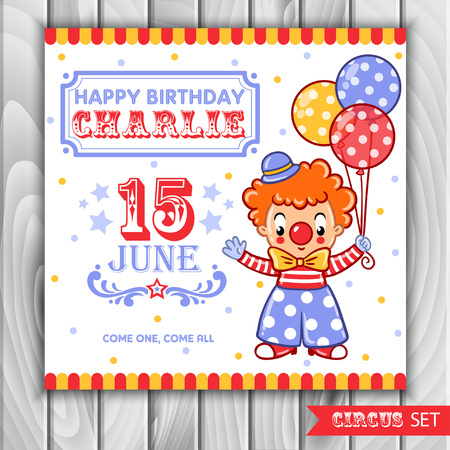 clown shoes: Postcard, card, poster or invitation with a circus clown.