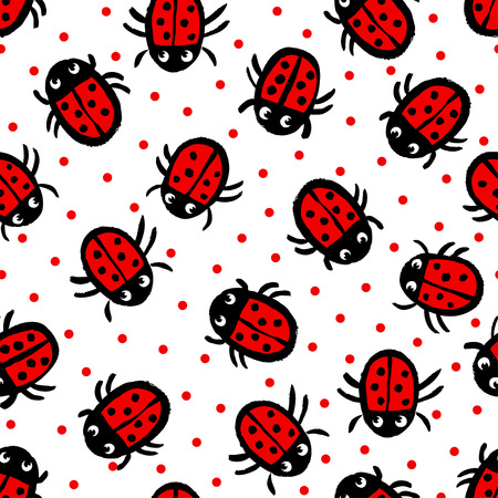 ladybug: Seamless pattern with Ladybugs on white background in vector.