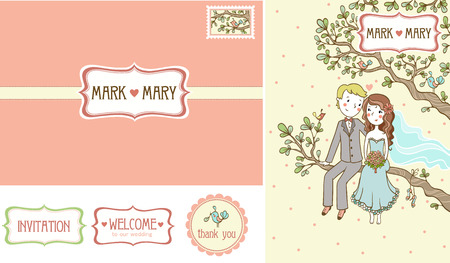 retro cartoon: Vector collection of wedding pictures. The bride and groom are sitting on a tree. Card with the brand name and a bird. Stamp Set. Illustration