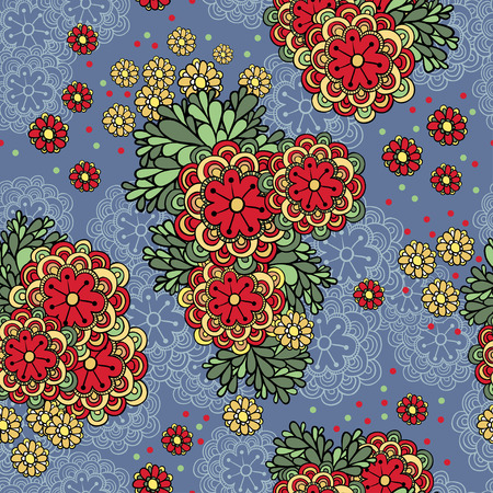 seamless floral pattern: Vector illustration with seamless lace flowers in a retro style. Illustration