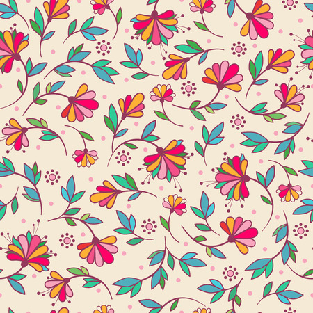curtain: Seamless vector illustration with multi-colored flowers on a beige background.