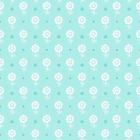 child drawing: Vector illustration with white flowers on a blue background.