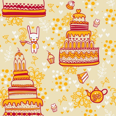 cake background: Vector seamless illustration with the hare and cake on the yellow background. Illustration