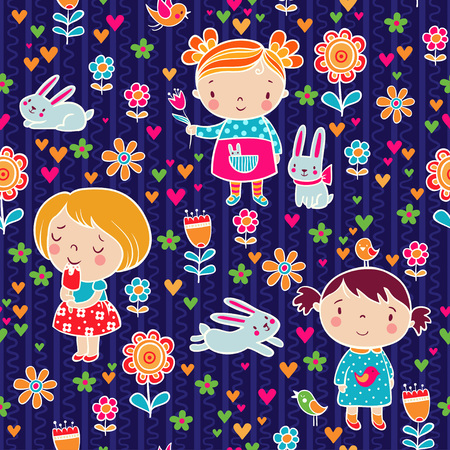 happy birthday girl: Vector seamless illustration with flowers and a woman on a purple background.