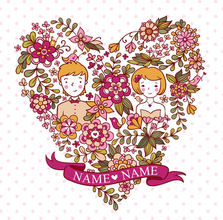 couple background: The bride and groom. Wedding invitation with a place under the names of the newlyweds. Illustration