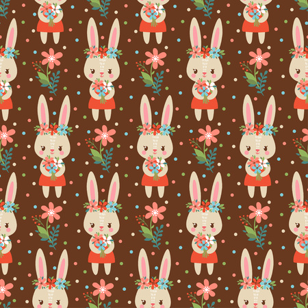 childish: Summer childish seamless pattern with cute rabbits holding flowers.