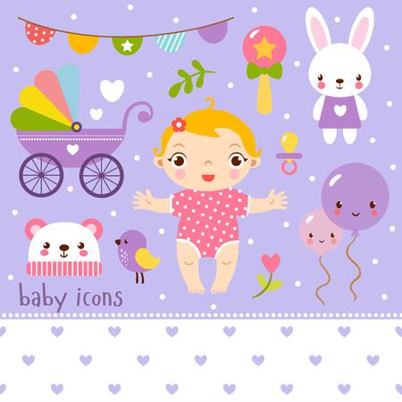 cute: Cute cartoon baby girl set.