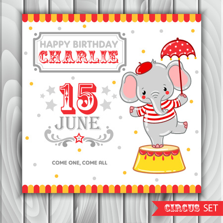 Children illustration of a cute Circus elephant standing on a circus tub.