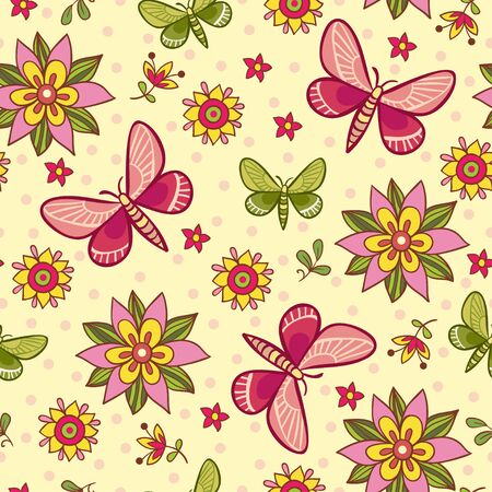 pink texture: Seamless pattern with flowers and butterflies. Vector illustration on autumn theme with butterflies and flowers on a beige background. Illustration
