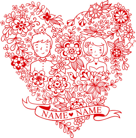 Wedding heart with flowers and birds. The bride and groom. Romantic floral wedding invitation in vector. Cute marriage.