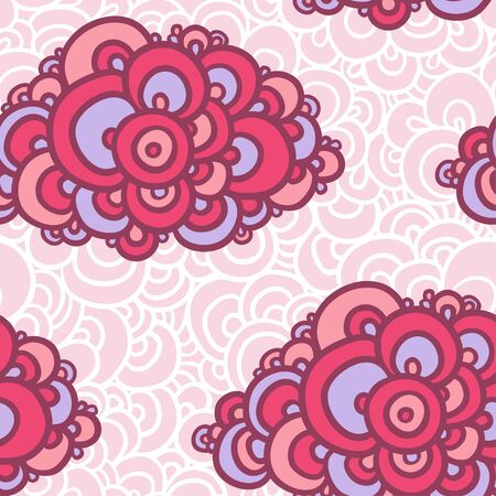 clots: Seamless abstract hand-drawn pattern. Vector illustration of seamless with colorful clouds on a pink background with white lace.