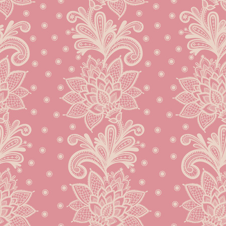Old white elegant doily on lace pink background. Vector illustration with seamless lace flowers on a pink background. Ilustração