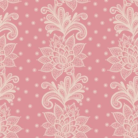 Oude witte elegant kleedje op kant roze achtergrond. Vector illustratie met naadloze kant bloemen op een roze achtergrond.