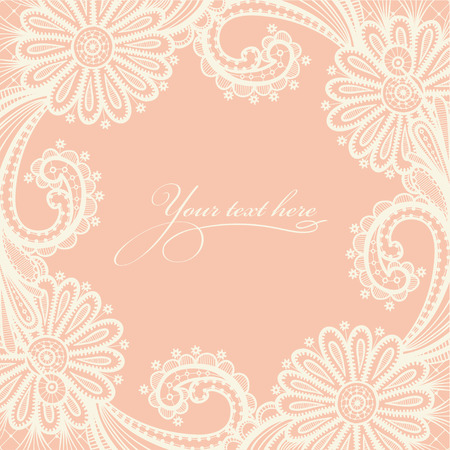 lace vector: Card with a white lace. Vector illustration with lace flowers on a beige background and place for your text.