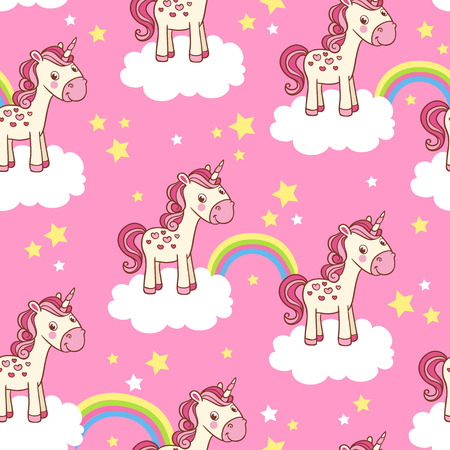 Vector de fondo infantil de niña. Vector sin fisuras con la ilustración de dibujos animados de caballos en las nubes con un arco iris sobre un fondo de color rosa. Ilustración de vector
