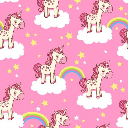 Vector infantile sfondo per la ragazza. Vector senza soluzione di continuità con l'illustrazione dei cartoni animati di cavalli tra le nuvole con un arcobaleno su sfondo rosa. Vettoriali