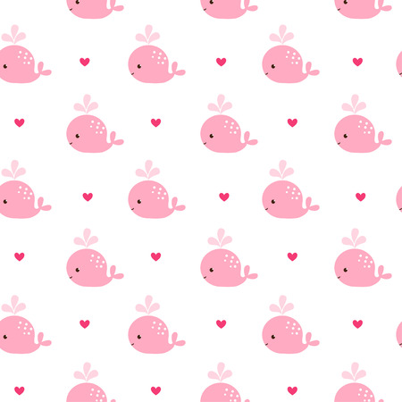 Cute background with cartoon pink whales. Baby shower design. Seamless pattern can be used for wallpapers, pattern fills, web page backgrounds, surface textures.
