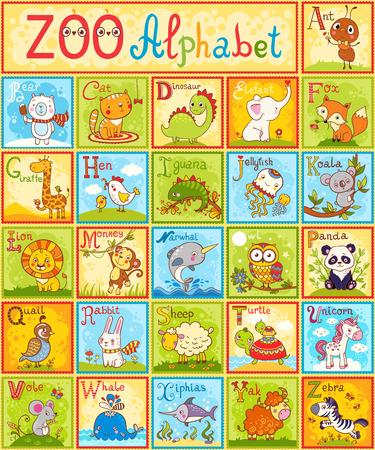 동물 벡터 알파벳입니다. 전체 어린이 영어 동물 알파벳 다른 재미 만화 동물과 철자. 알파벳. 화려한 스타일의 동물원 알파벳 디자인.