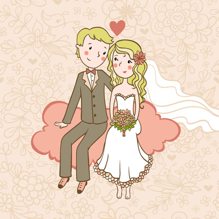 Vintage wedding background. Wedding invitation.Background with a boy and a girl sitting on a cloud.